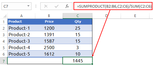 click ok in data table to use to calculate weighted average in excel with sumproduct