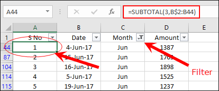 dynamic serial number in excel with subtotal function