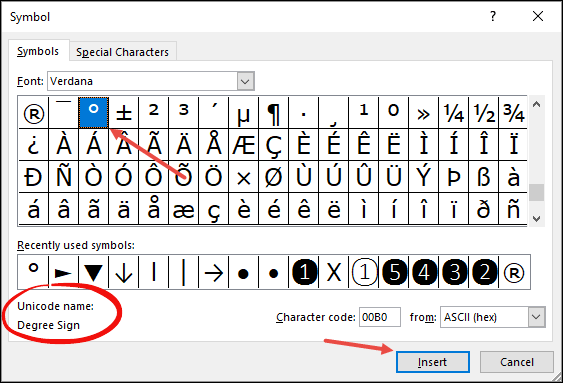 insert a degree symbol in excel using from symbol dialog box insert and close