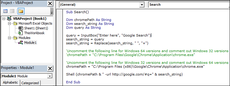 Use this VBA Code to Search on Google using Excel [Chrome Version]