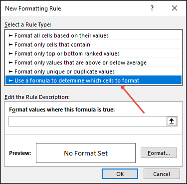 click on formula rule to highlight dates between two dates