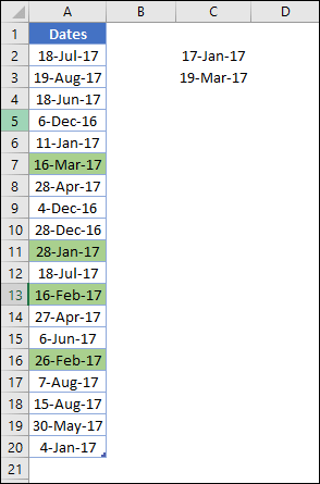 highlight dates between two dates in a column