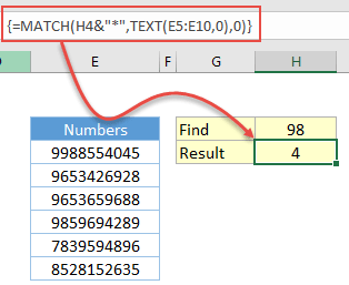 use wildcard characters in excel when you have only numbers