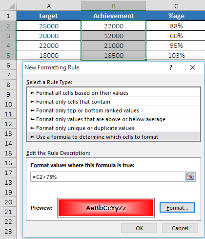 apply conditional formatting with a formula using another cell