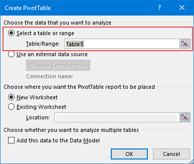 new pivot table to update pivot table range