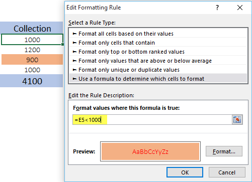 use formulas in conditional formatting to check if value is greater