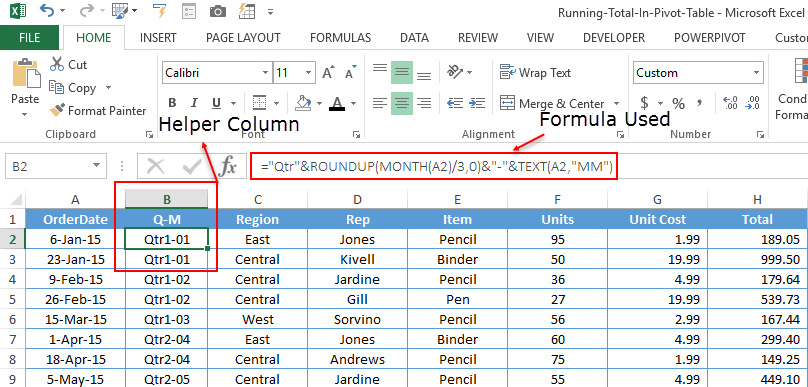 apply running total in pivot table using helper column in source data