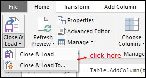 click close and load to get square root data into existing worksheet using power query in excel