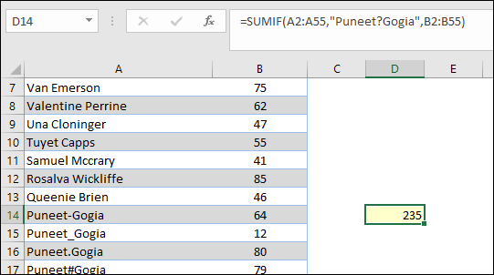 formula combining sumif with wildcard characters question mark
