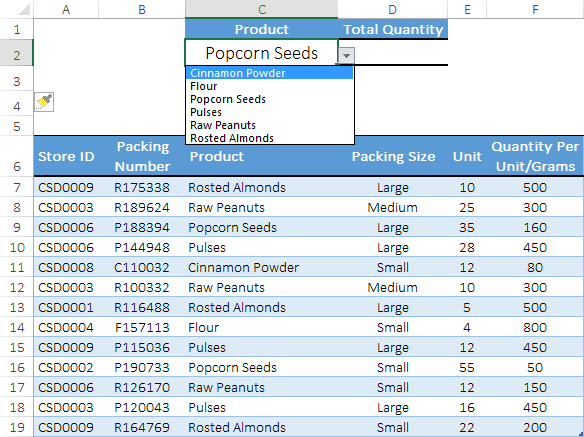 raw data table to apply sumproduct if
