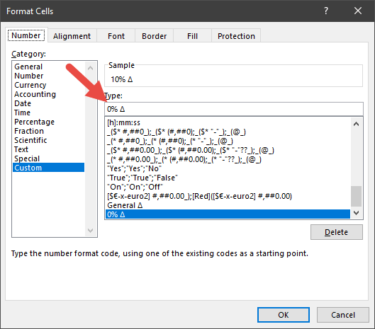 a custom delta format with percentage excel