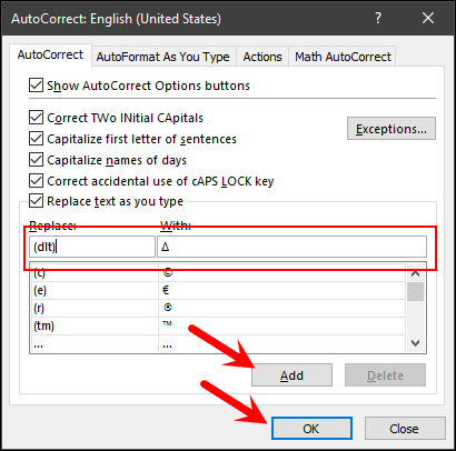 add text in auto correct option for delta symbol in excel