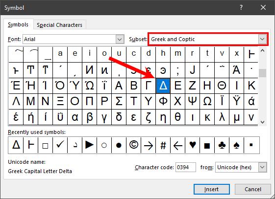 select greek symbols to insert delta excel