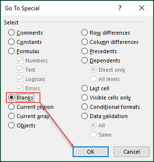 excel tips and tricks to highlight blank cells click blank option