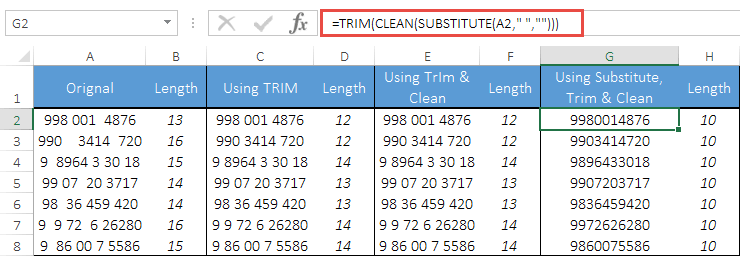 remove extra spaces from a cell in excel using trim clean substitute
