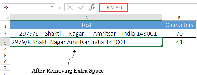 remove extra spaces from a cell in excel using trim function