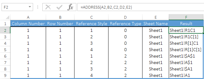 how to use address function in excel examples
