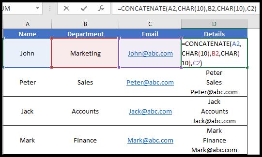 concatenate with line break using concatenate function