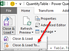 power query vlookup click and load table