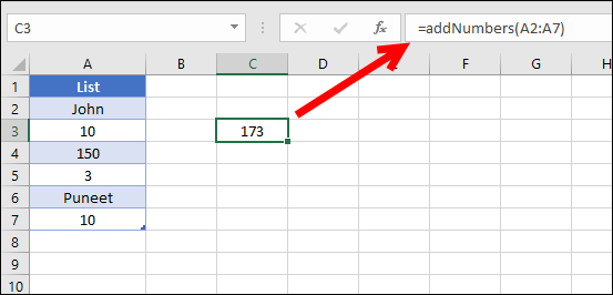 a custom vba function to sum number froma alist