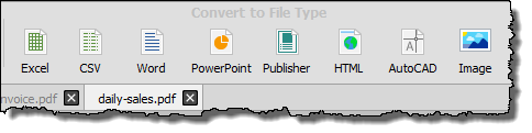 buttons will get highligted to convert pdf file into an excel workbook