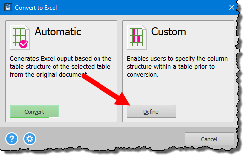 click on the define button to into an excel workbook