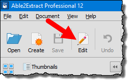 click on the edit button before you convert pdf file into excel file