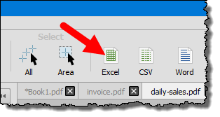 click on the excel button to convert pdf file into an excel workbook