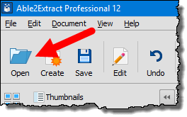 click open to locate pdf file to convert into excel workbook