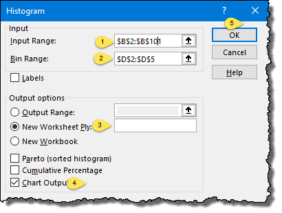 define input rang and bin range to create a histogram in excel 2013