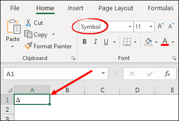 enter delta symbol in excel by changing font style