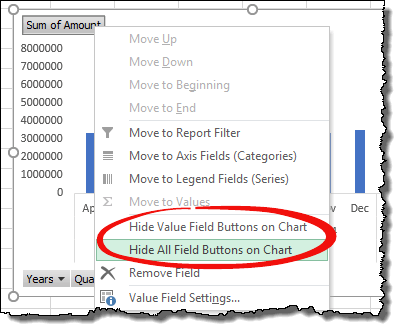 excel pivot table tips tricks hide filter buttons from pivot chart