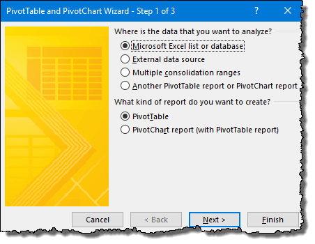 excel pivot table tips tricks to create a pivot table using pivot table wizard