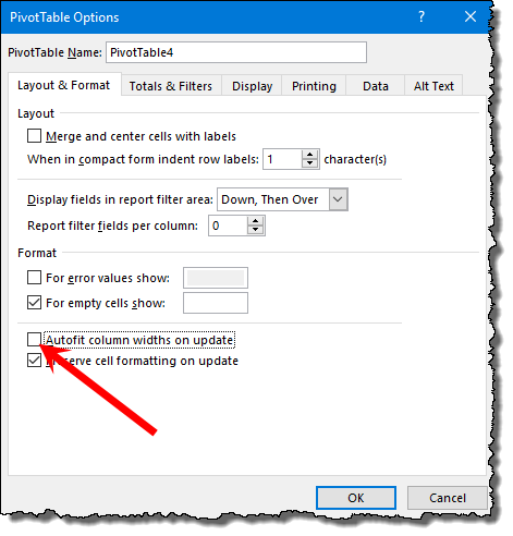 excel pivot table tips tricks to disable auto width update when you update a pivot table