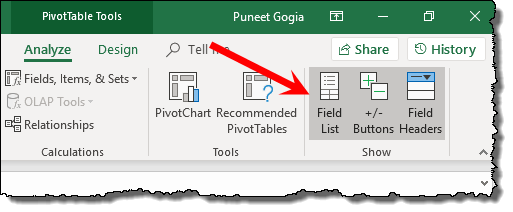 excel pivot table tips tricks to hide unhide field list pane