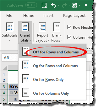 excel pivot table tips tricks to hide unhide grand totals