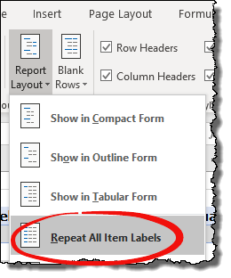 excel pivot table tips tricks to repeat all item labels