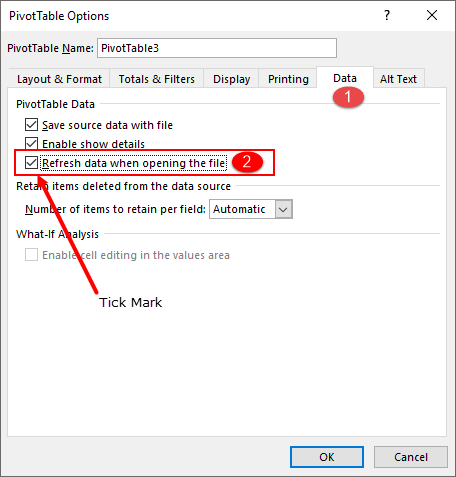 excel pivot table tips tricks to tick mark refresh pivot table on opening a file