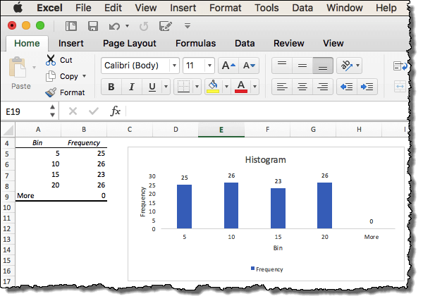 final histogram in excel mac version