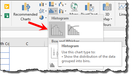 go to data tab to create a histogram in excel 2016