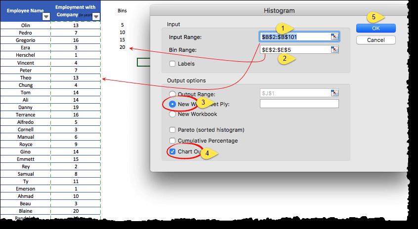 input values range and bin range to create histogram in excel 2011 mac