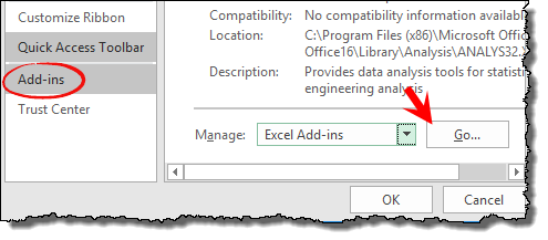 open excel addins to install analysis tool pack to create histogram