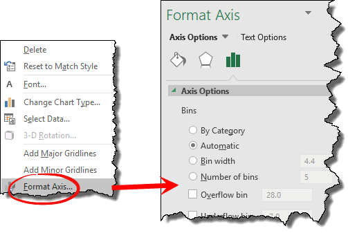 open format axis option to change settings for the chart