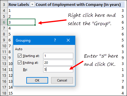 select the group to create a histogram in excel using pivot table