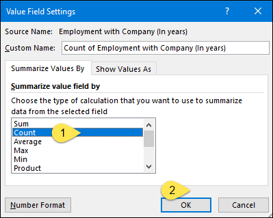 select count for the value field to insert a histogram in excel using pivot table