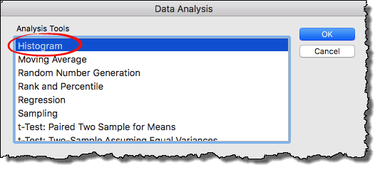 select histogram to create histogram chart in excel 2011 mac