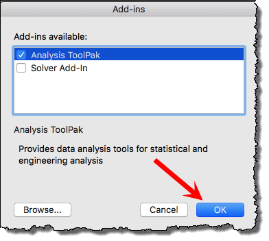 tick mark analysis tool pack to create histgram in excel mac