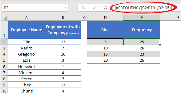 using freuency function to create a dynamic histogram in excel