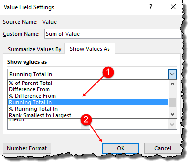 excel pivot table tips tricks to add running total value field setting