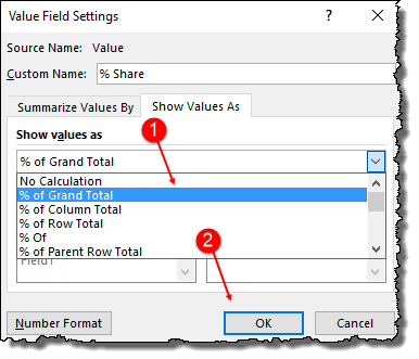 excel pivot table tips tricks to create a percentage share options